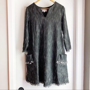 Nanette Lepore Tweed Fringe Shirt Dress Pockets 6